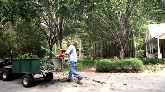 Senior man picks up tree limbs from yard.  Time Lapse. Senior man picks up tree limbs from yard and places them in a trailer attached to lawn mower. Time lapse video. removing stock videos & royalty-free footage