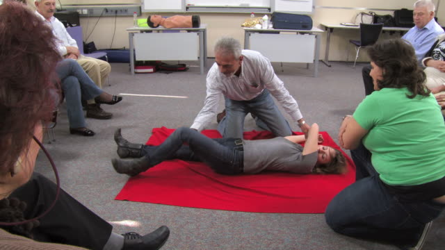 HD: Senior Man Practicing The Recovery Position video