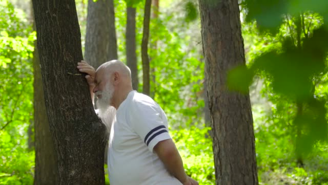 Senior man relaxing and leaning at tree trunk in summer forest Senior man enjoy the summer nature in the forest. Mature man leaning at trunk of tree with clothing eyes and keep calm. Sportive senior man relaxing after running. leaning stock videos & royalty-free footage