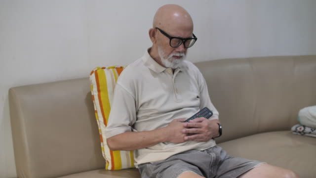 Senior man usually suffer from stomachache