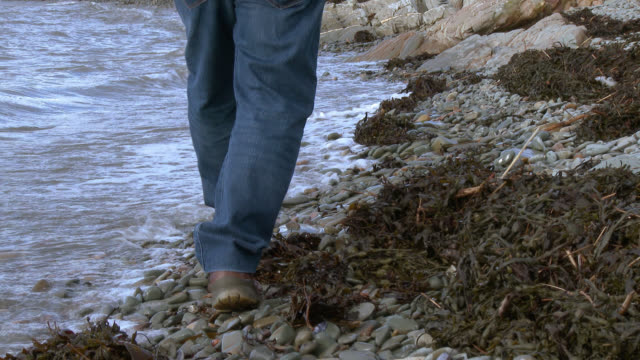 Senior man walking along a rocky shore 4K footage shot at 50fps and interpreted at 25fps to give a slower motion dumfries and galloway stock videos & royalty-free footage
