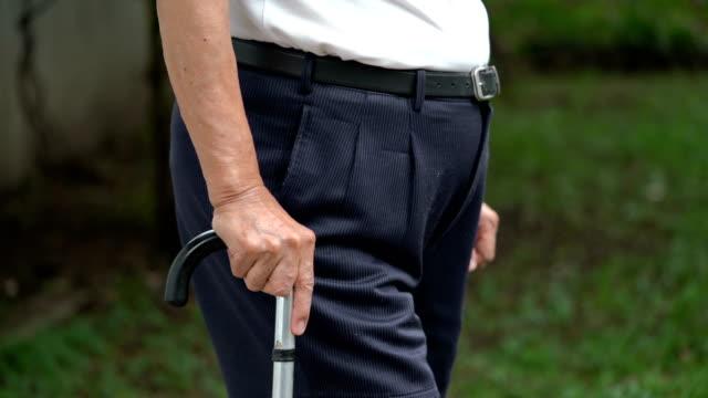PAN TS CU senior man walking with cane Panning, tracking, close-up shot of senior man walking with walking cane stick plant part stock videos & royalty-free footage