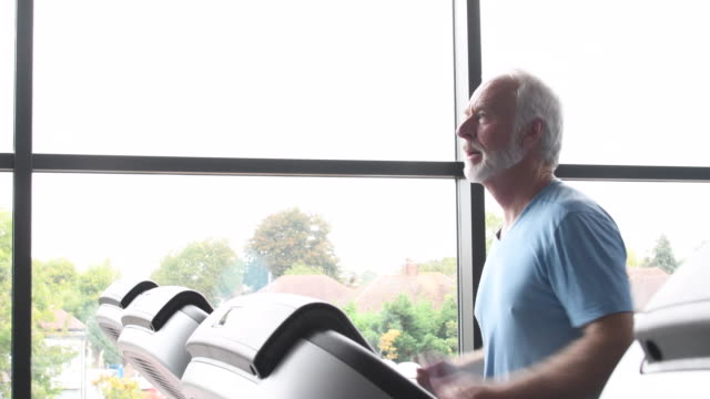 Senior man working out at gym video