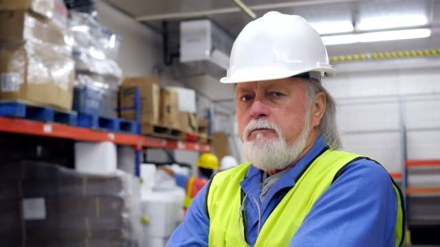 Senior manager in distribution warehouse frustrated with job video