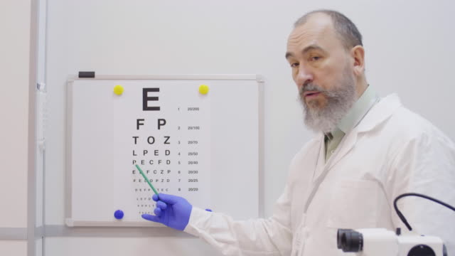 Senior Optician Pointing at Eyechart during Vision Test Professional elderly optometrist in lab coat pointing at eyechart with pencil while giving eye vision test to patient in clinic eye chart stock videos & royalty-free footage