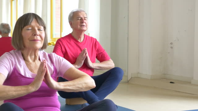 Senior people meditating with yoga teacher video