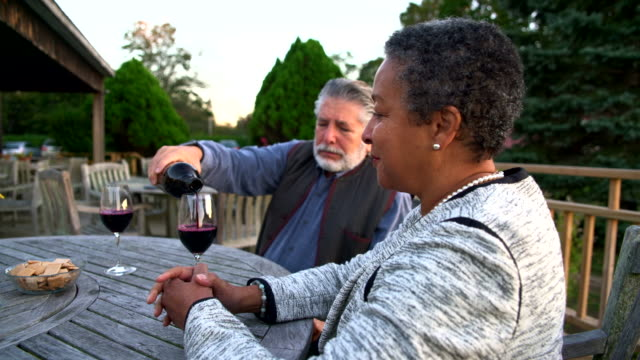 Senior pouring the glasses by the red wine during the wine tasting at the winery video