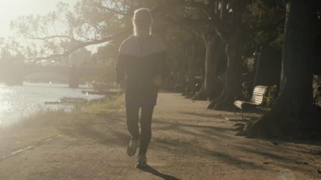 Senior runner in Melbourne park video