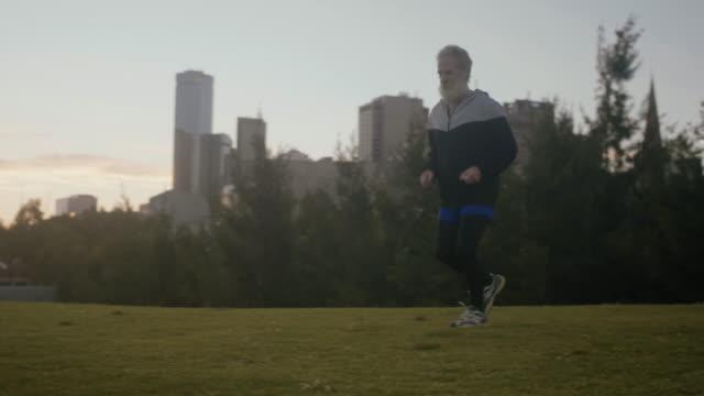 Senior runner in Melbourne (slow motion) video