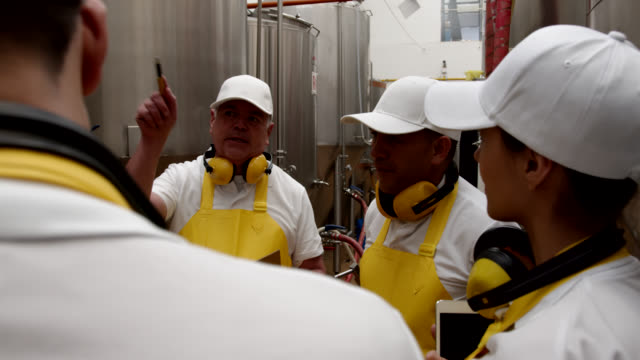 Senior supervisor explaining something to his team while pointing at different parts at a brewery factory