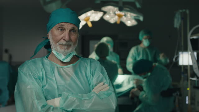 Senior surgeon feeling sad at operating room video
