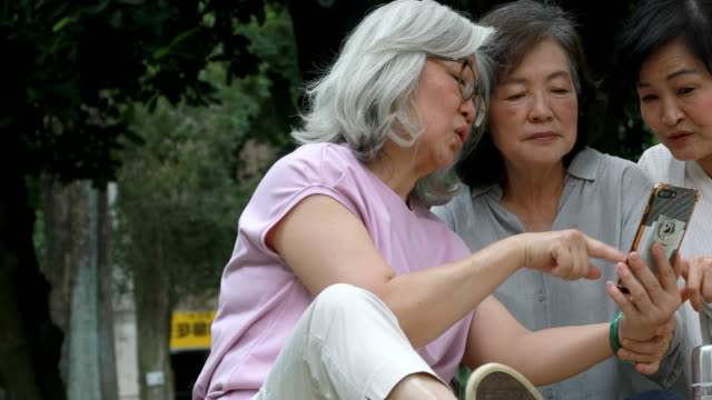 Senior Taiwanese Friends Looking At Smartphone During Picnic