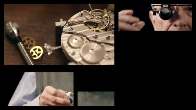 Senior watchmaker assembling watch (Splitscreen) video