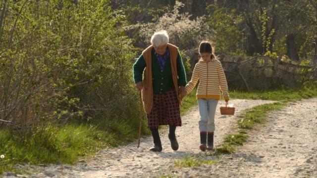 senior woman and child walking down the road. holding hands. - serdeczny filmów i materiałów b-roll