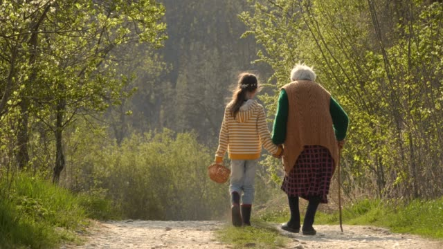 senior woman and child walking down the road. holding hands. - nipote femmina video stock e b–roll