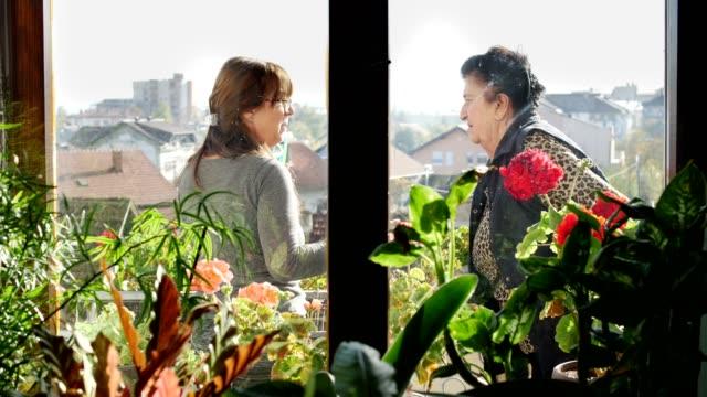 stockvideo's en b-roll-footage met senior vrouw en haar liefdevolle volwassen dochter praten op balkon - raam bezoek
