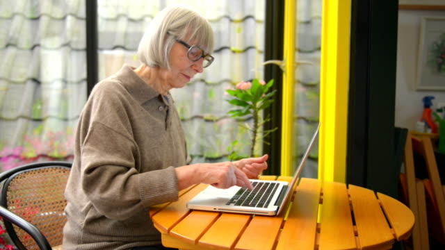 Senior woman buying from internet video