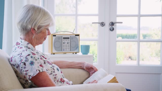 Senior woman sitting in an armchair reading a book at home Senior woman sitting in an armchair reading a book at home lounge chair stock videos & royalty-free footage