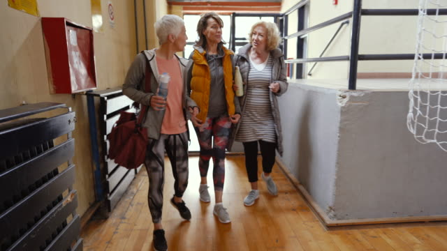 Senior women arriving at dance class