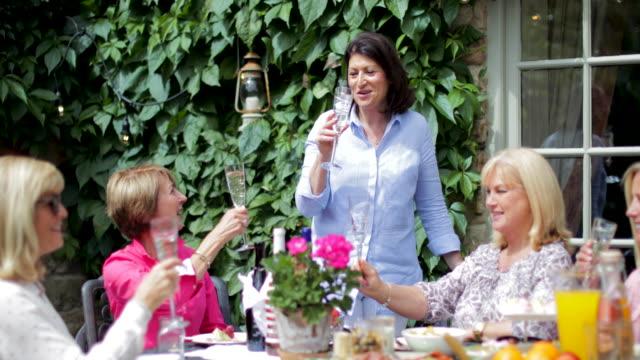 vídeos de stock, filmes e b-roll de mulheres sênior, celebrando juntos - festa no jardim
