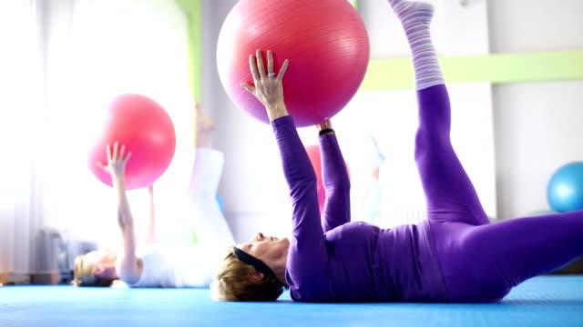 Senior women doing Pilates. video