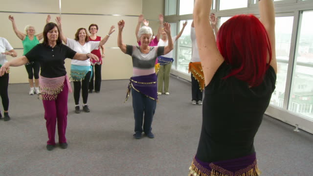 HD: Senior Women Practicing Belly Dance video
