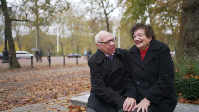 a seniors couple sitting on a bench together in the park laughing and being silly together - true love angielski zwrot filmów i materiałów b-roll