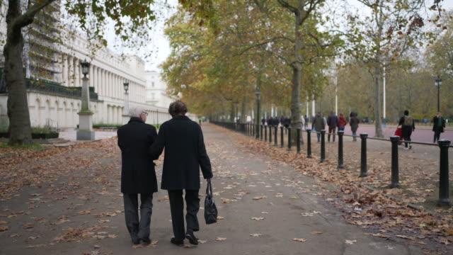 a seniors couple walking in the park together - true love angielski zwrot filmów i materiałów b-roll