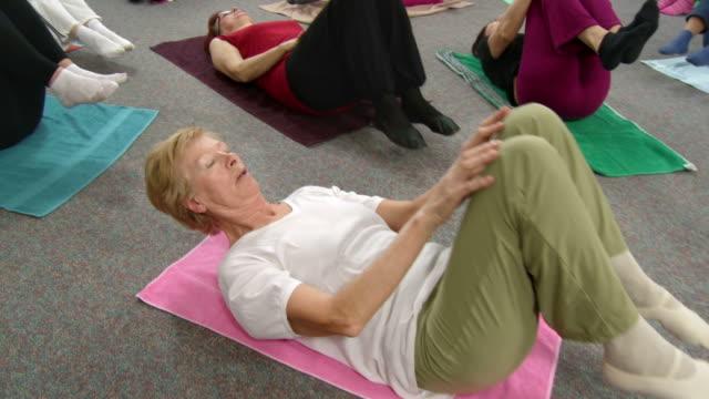 HD CRANE: Seniors Doing Stretching Exercises video