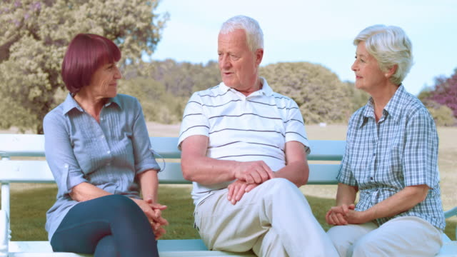 SLO MO Seniors sitting on the bench and chatting Slow motion medium locked down shot of a senior man sitting on a park bench and talking with his two senior female friends on a sunny day. dyed red hair stock videos & royalty-free footage
