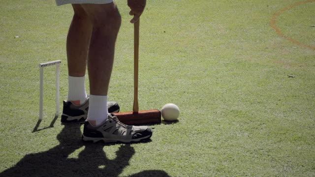 a senoir man playing croquet - target australia stock videos & royalty-free footage