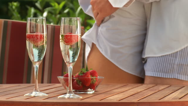 HD DOLLY: Sensual Dance With Champagne And Strawberries  desire stock videos & royalty-free footage