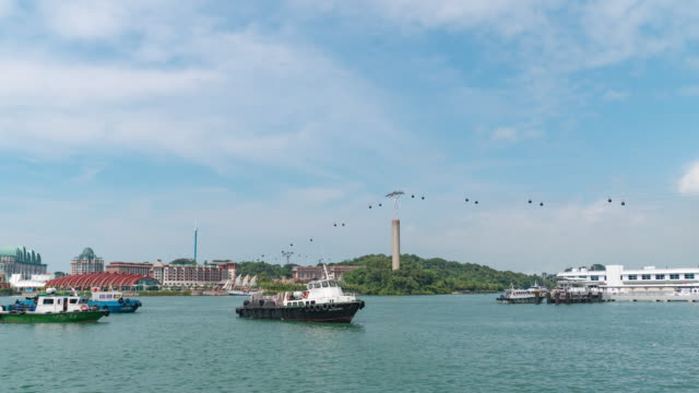 Sentosa Harbour and Water Traffic and Crane on Industrial Port Background , Time Lapse Video