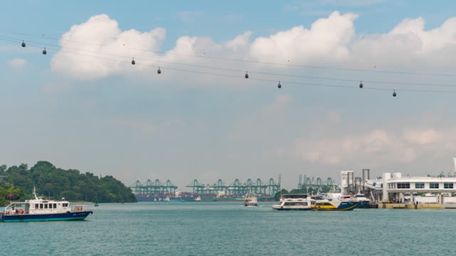 Sentosa Harbour and Water Traffic in Beautiful Day, Time Lapse Video