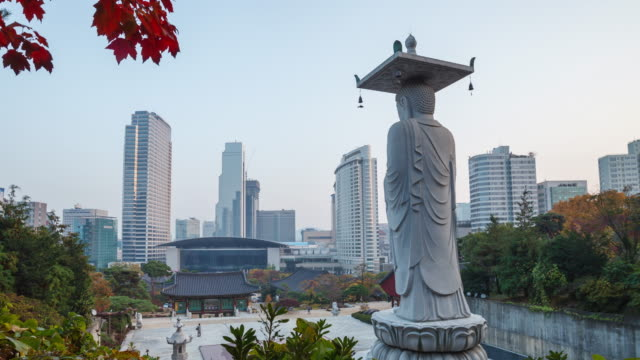 Seoul Buddhist Temple and city view day to night timelapse Seoul Buddhist Temple and city view day to night timelapse seoul stock videos & royalty-free footage