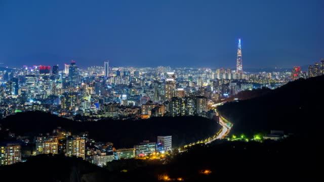 Seoul City and Lotte Tower, South Korea. Time lapse 4k Seoul City and Lotte Tower, South Korea. Time lapse 4k namsan seoul stock videos & royalty-free footage