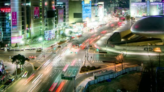 Seoul City Night Traffic Timelapse video