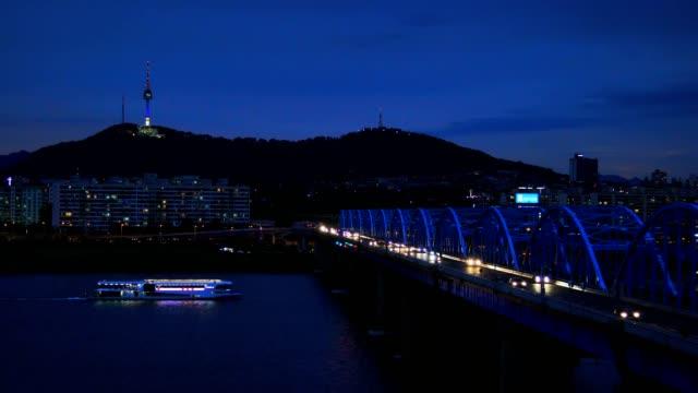 Seoul City skyline at Dongjak Bridge and Han river in Seoul South Korea namsan seoul stock videos & royalty-free footage