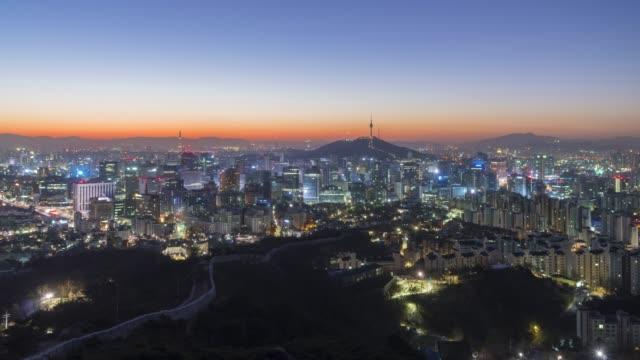 Seoul City Skyline,South Korea.Timelapse 4k Seoul City Skyline,South Korea.Timelapse 4k gyeongbokgung stock videos & royalty-free footage