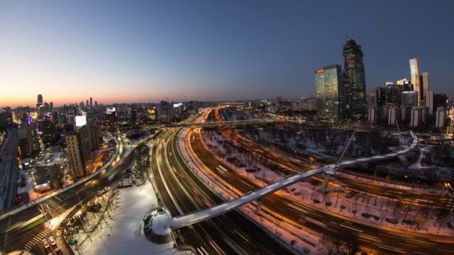 Seoul City 105) Time lapse of traffic in Seoul Korea. seoul stock videos & royalty-free footage
