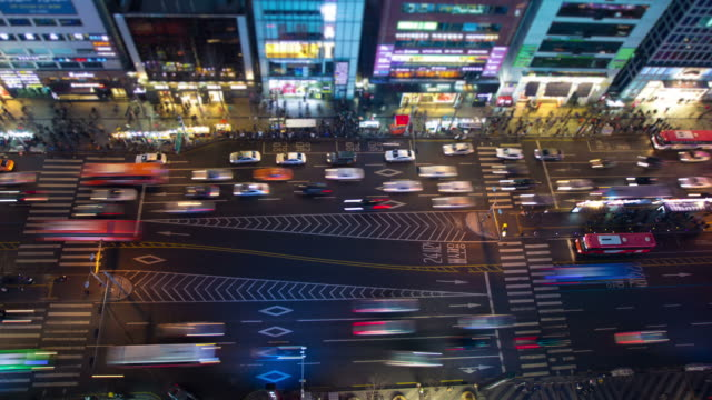 seoul città - city walking background video stock e b–roll