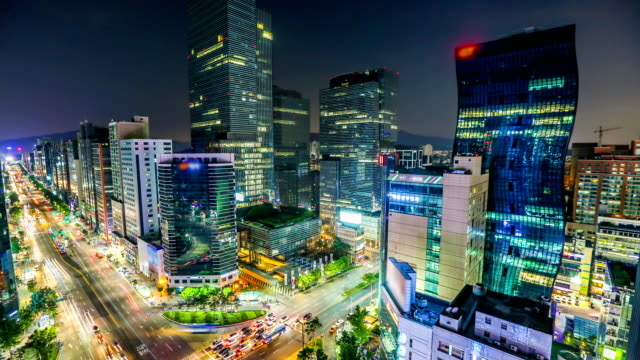 Seoul City Time lapse of buildings and traffic in the center of Gangnam, Seoul. seoul stock videos & royalty-free footage