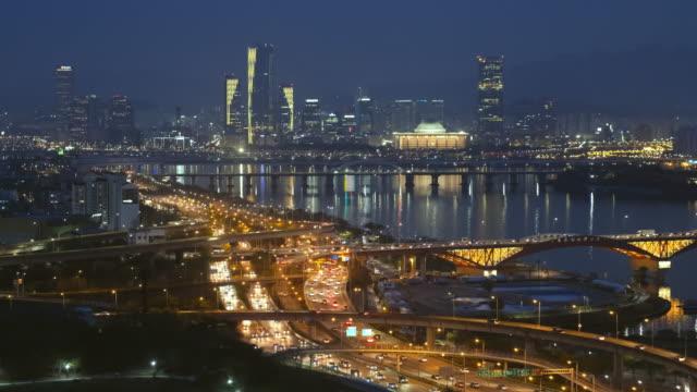 vídeos de stock e filmes b-roll de seoul cityscape in twilight, south korea. - seul