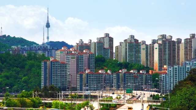 Seoul finance area with Seoul tower Seoul's biggest finance and investment banking area namsan seoul stock videos & royalty-free footage