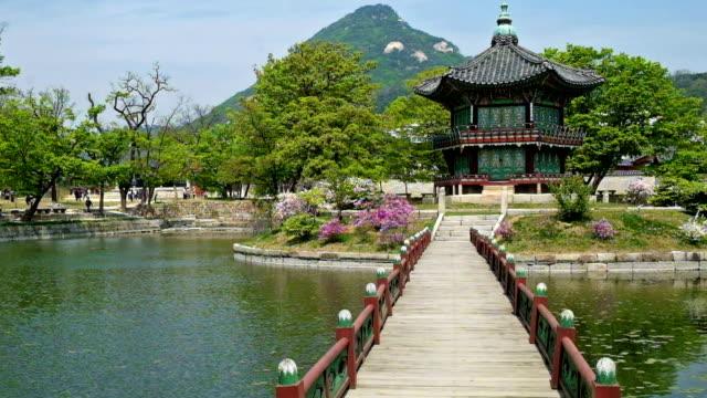 Seoul - Hyangwonjeong Seoul - Hyangwonjeong, Korean pavilion filmed in full HD with tripod gyeongbokgung stock videos & royalty-free footage