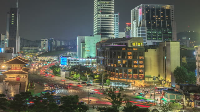 Seoul night traffic time lapse panorama - vídeo