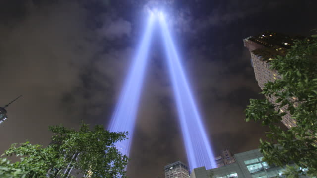 vídeos y material grabado en eventos de stock de 11 de septiembre world trade center memorial lights - septiembre