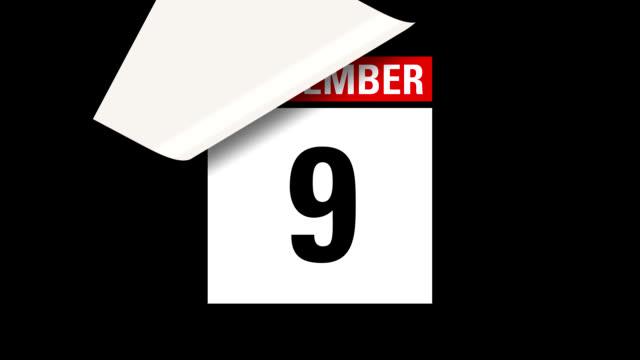 September month calendar HD video