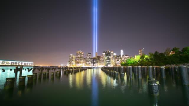11 september night light 4k time lapse from new york city video