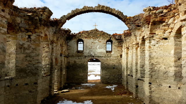 Sequence of 2 clips of Ruins of the old Eastern Orthodox church of Saint Ivan Rilski abandoned at the bottom of Zhrebchevo Dam during the communist regime in Bulgaria video
